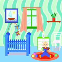 Baby room interior with boy playing toys. Flat design. Colorful baby room with many object and toys.