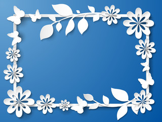 White frame with leaves and flowers