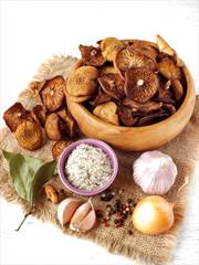 Dried mushrooms.