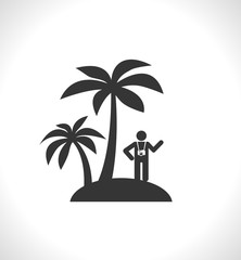 palm tree island with tourist