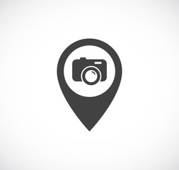 map pointer pin with photo camera icon