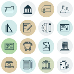 Set Of 16 Education Icons. Includes Distance Learning, Paper, Taped Book And Other Symbols. Beautiful Design Elements.