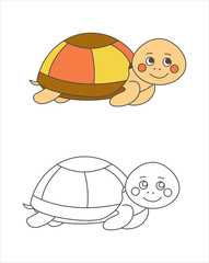 Turtle for coloring book