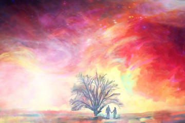 man and woman stay under the big oak tree against colorful sky,illustration painting, abstract love...