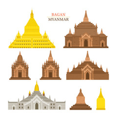 Bagan, Myanmar, Architecture Building Landmarks, Objects, Travel and Tourist Attraction