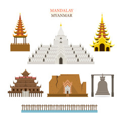 Mandalay, Myanmar, Architecture Building Landmarks, Objects, Travel and Tourist Attraction