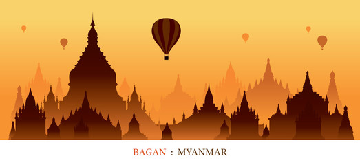 Bagan, Myanmar, Landmarks Silhouette Sunrise Background, Cityscape, Travel and Tourist Attraction