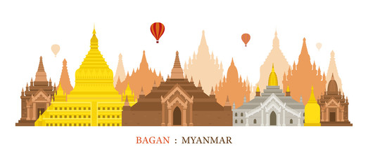 Bagan, Myanmar, Architecture Landmarks Skyline Cityscape, Travel and Tourist Attraction