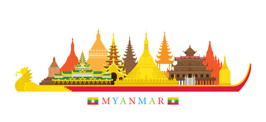 Myanmar Architecture Landmarks Skyline Cityscape, Travel and Tourist Attraction