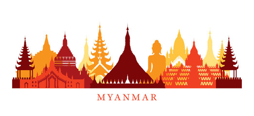 Myanmar Architecture Landmarks Skyline, Shape,  Silhouette, Cityscape, Travel and Tourist Attraction