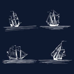 Vector set of sailing ships or boats in the sea. Hand sketched schooners, sloops, brigantines. Marine theme design.