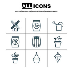 Set Of 9 Holticulture Icons. Includes Hanger, Bailer, Bush Pot And Other Symbols. Beautiful Design Elements.