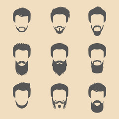 Vector set of different men hipster haircuts, beard, mustache icons in trendy flat style. Male faces icons collection.