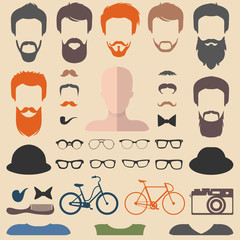 Big vector set of dress up constructor with different men hipster haircuts, glasses, beard etc. Male faces icon creator.