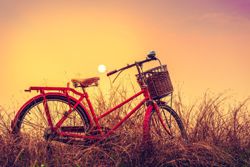 Vintage Bicycle with summer background at sun set (vintage process style,Boost up Color Processing)