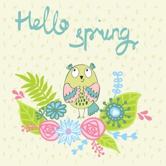 Hello spring. Greeting card with funny owls in vector.
