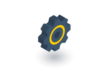 gear, mechanism isometric flat icon. 3d vector colorful illustration. Pictogram isolated on white background