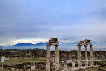 Hierapolis columns with mountains background