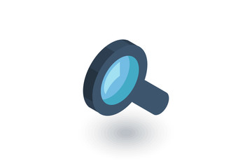 Search, magnifying glass isometric flat icon. 3d vector colorful illustration. Pictogram isolated on white background