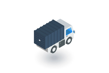 truck cab, van body, container isometric flat icon. 3d vector colorful illustration. Pictogram isolated on white background