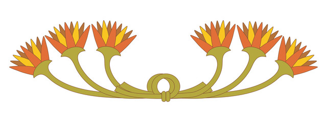 Vector illustration of Egyptian national floral ornament. Lotus flowers tied in a knot.