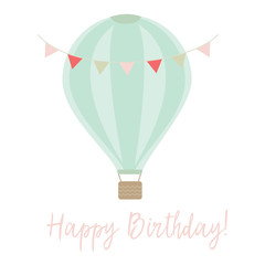 Happy Birthday Card with Banner and Air Balloon