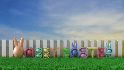 Happy easter background with colorful eggs on green meadow and sunlight on blue sky . Happy Easter greetings. 3D render.