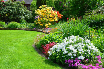 beautiful garden with lawn