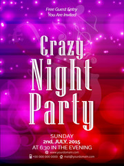 Nice and beautiful design illustration of Party Flyer or Crazy Night Party.