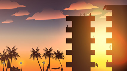 Beach Apartment Balcony Silhouette with People and Palmtree - Vector Illustration