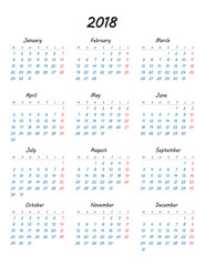 Simple calendar 2018 year. Week starts from monday. Vector illustration.