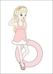 girl in summer dress blonde