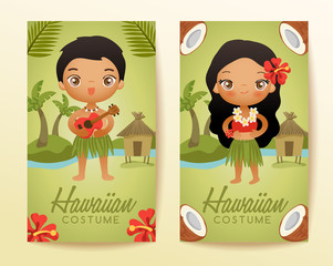 Hawaiian  traditional costumes : Vector Illustration