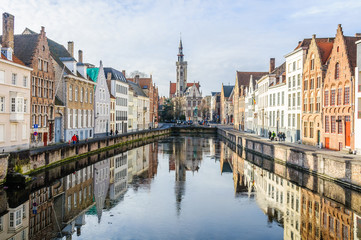 Reflection of church in Bruges, Belgium