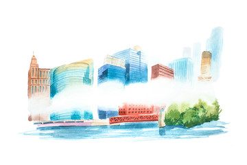 Aquarelle cityscape with houses and buildings watercolor illustration.
