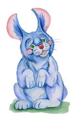 Illustration blue rabbit ,made watercolor . on white background