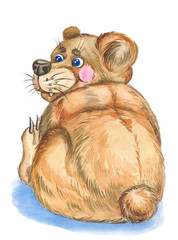 Illustration funny bear  made with watercolor . on white background