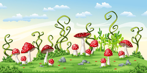 Illustration of some fly mushrooms
