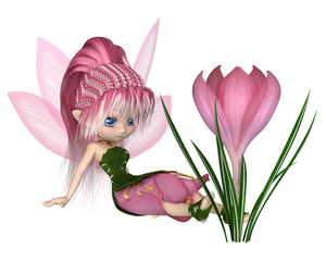 Cute Toon Pink Crocus Fairy, Sitting by a Flower - fantasy illustration