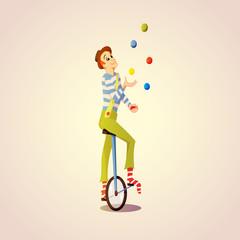 Cartoon Circus juggler juggling balls on a unicycle