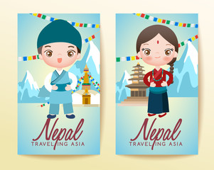 Boy and girl in national costume : Vector Illustration