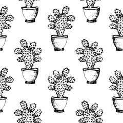 Cactuses - black and white graphic seamless pattern