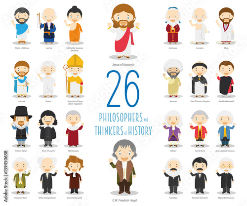 Kids Vector Characters Collection: Set of 26 Great Philosophers and