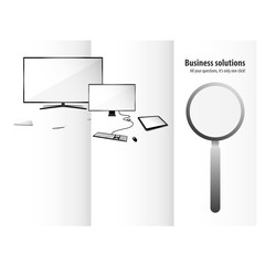 Technology triptych design for business