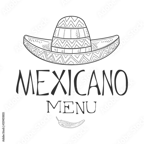 Restaurant Mexican Food Menu Promo Sign In Sketch Style With ...