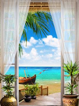 Digital fresco. Tropical view