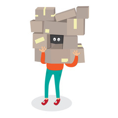 Delivery worker hide by box.Courier Man carrying boxes cartoon vector isolated illustration