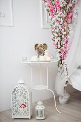 mirror, flowers, decoration, chandelier