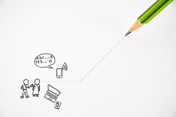 pencil draws the idea of communication on the white background