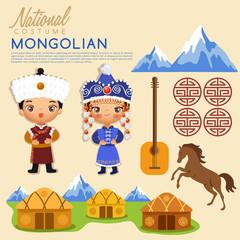 Mongolian traditional costumes : Vector Illustration